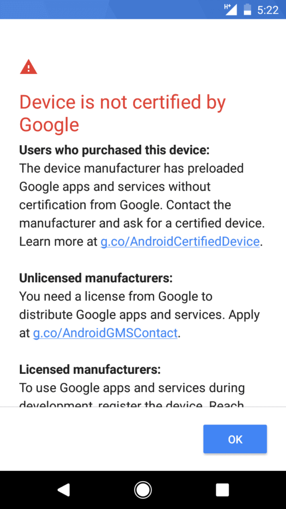 Fix Device Not Certified by Google error