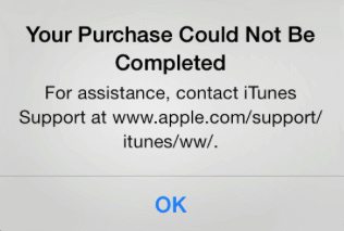 fix 'your purchase could not be completed'