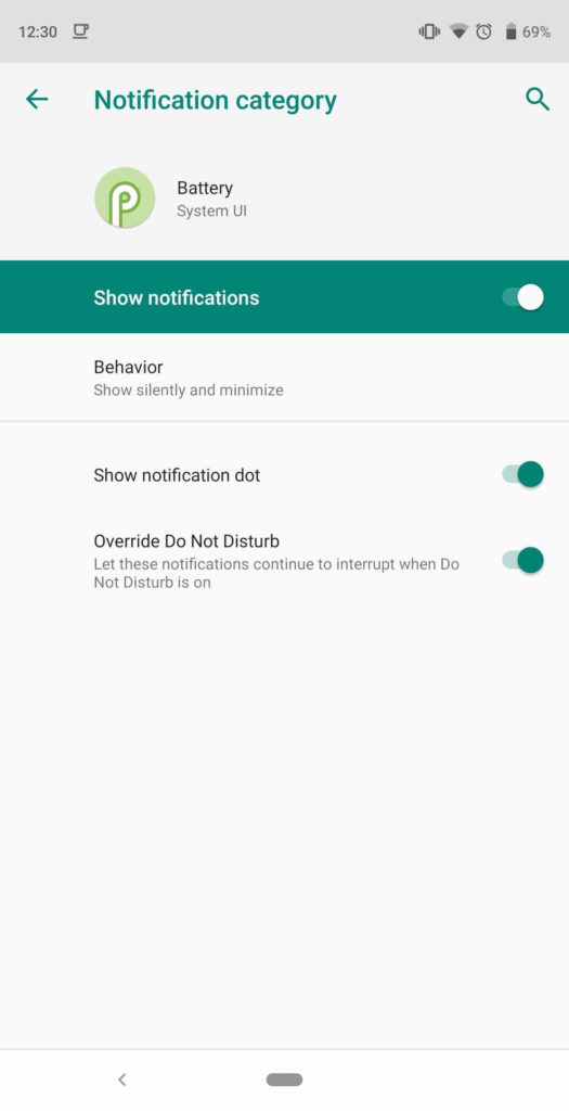 stop Low Battery Warning Sound & Notification in Android 9.0