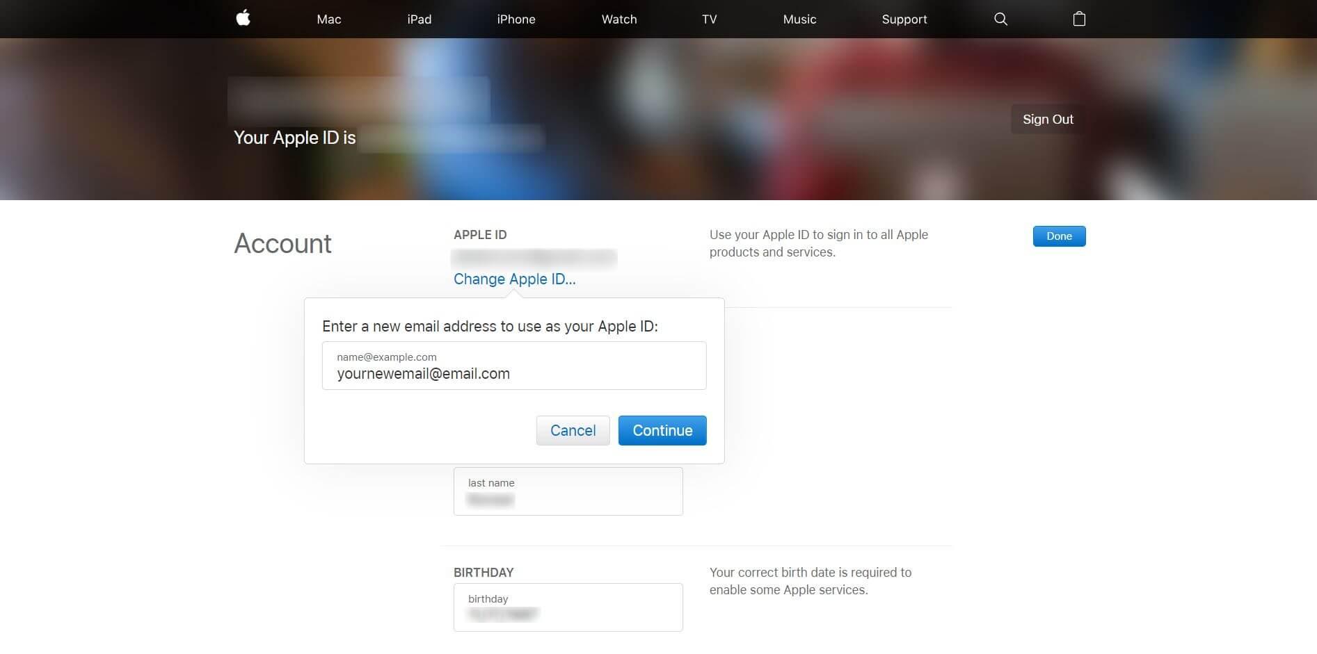 Change Apple ID Email Address