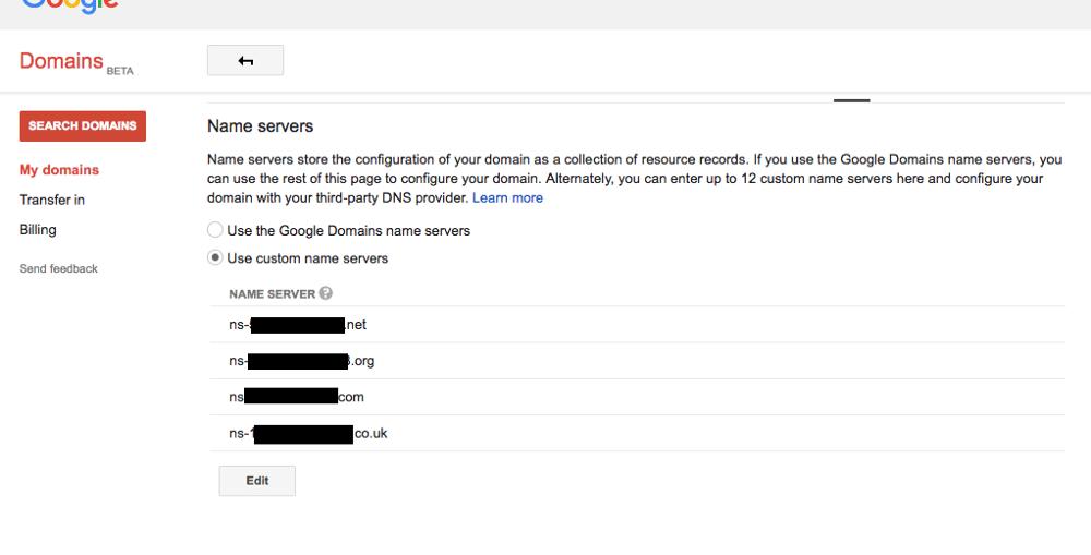 change nameservers of domain for siteground