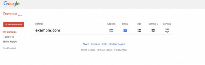 Google Domains DNS settings