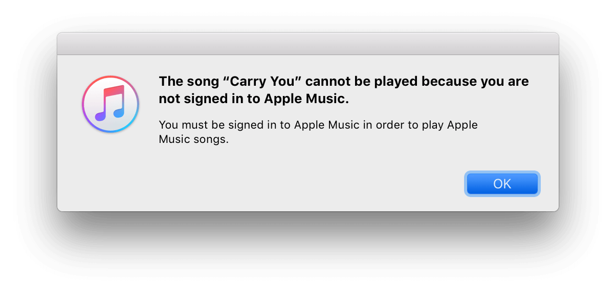 "fix ""You are not signed in to Apple Music"" error"