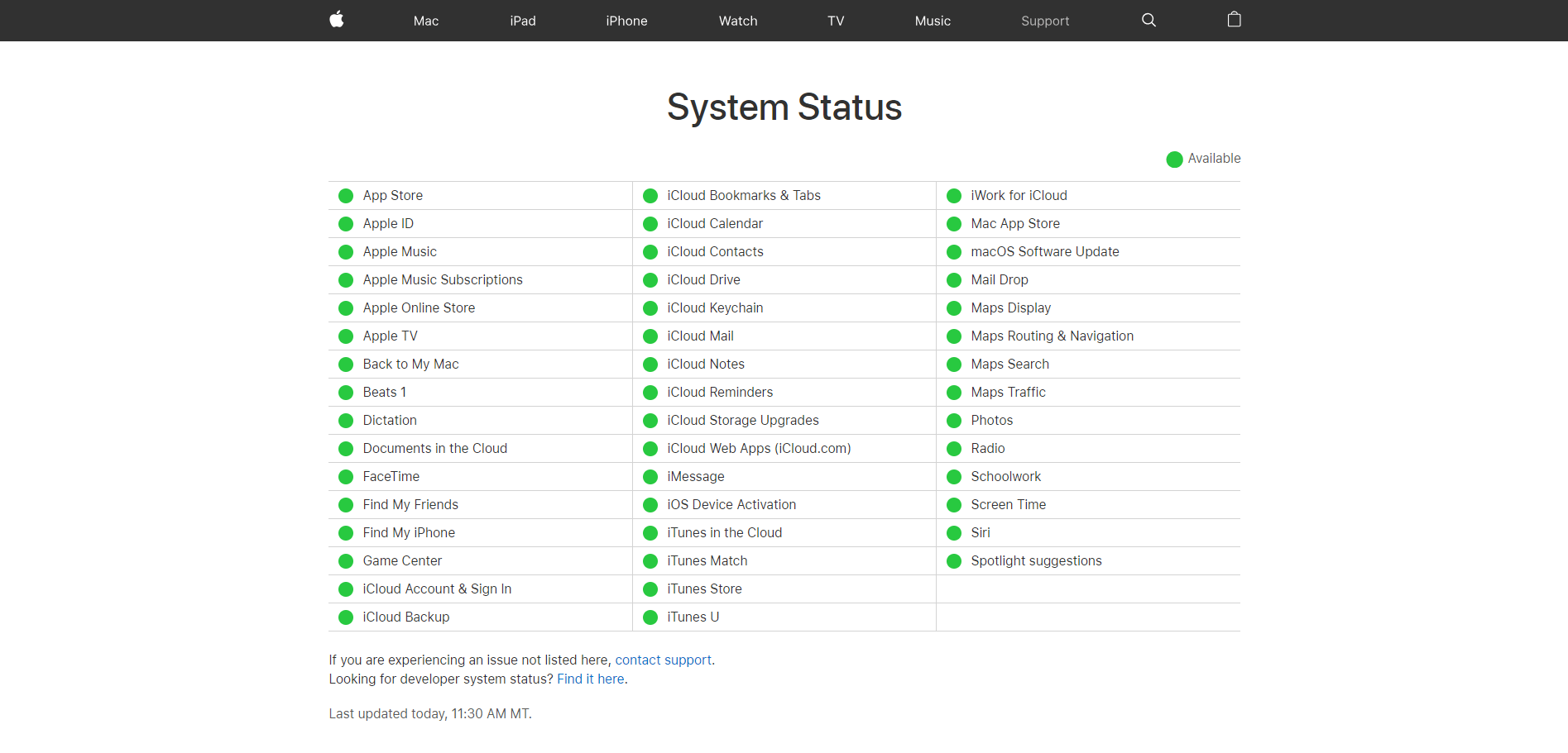 Apple TV+ System Status