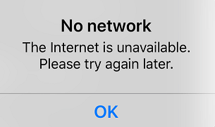Network unavailable, please try again later