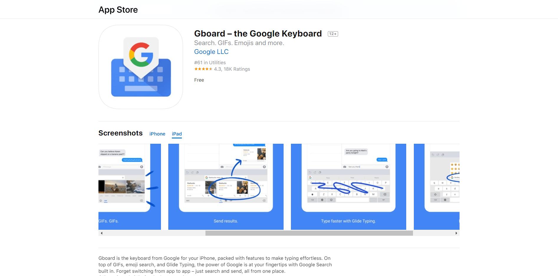 Gboard Google Keyboard for iPad
