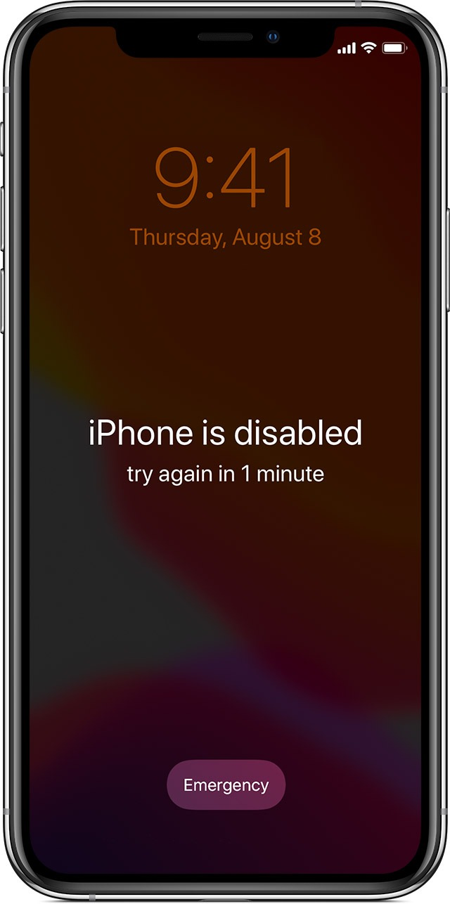 iPhone is disabled. Connect to iTunes