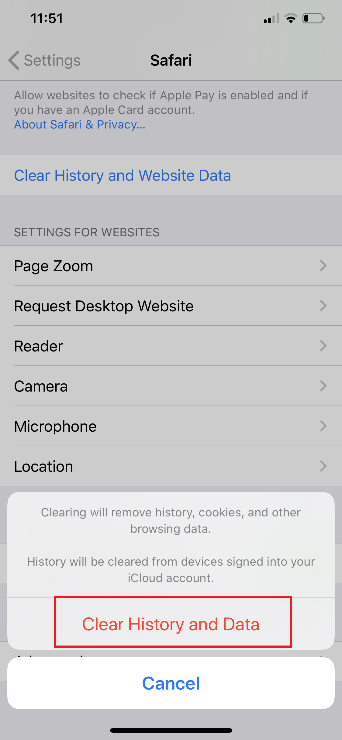 Clear History and Data on iOS