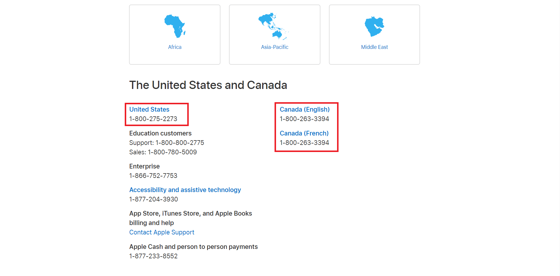 Contact Apple US & Canada