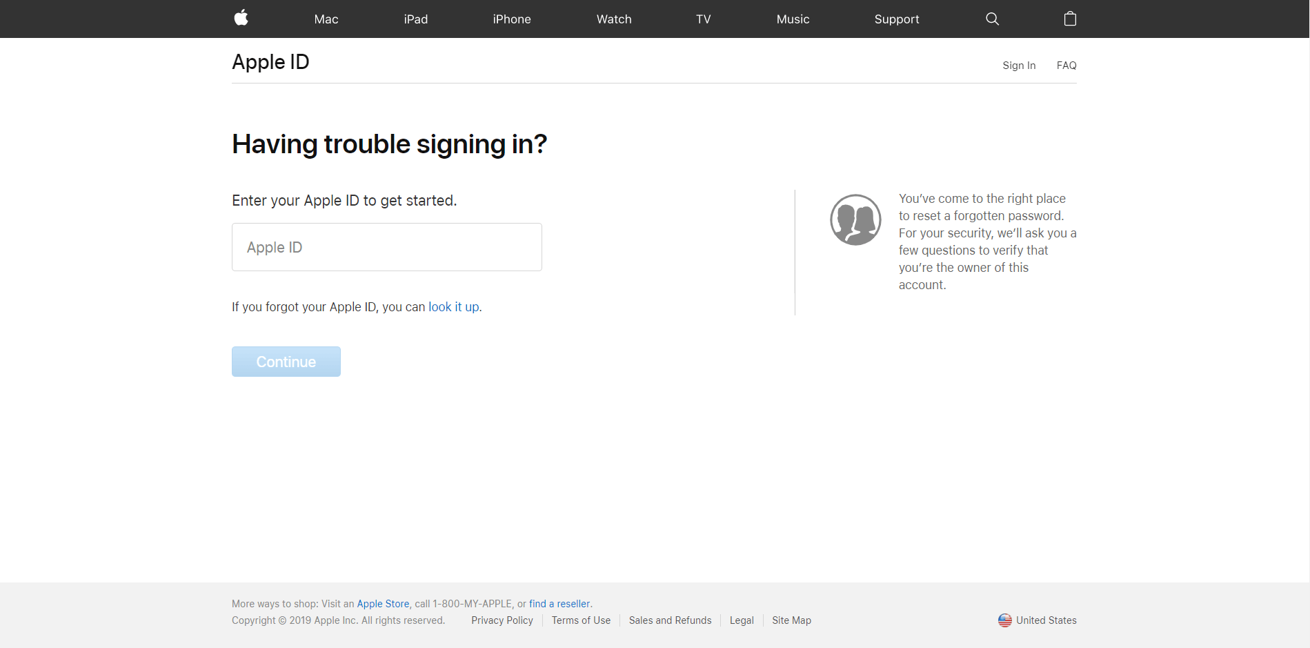 Forgot password page Apple ID