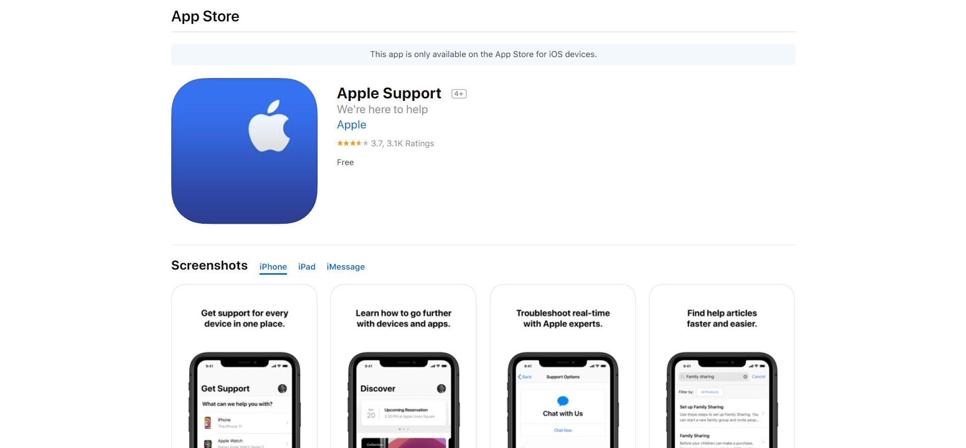 Apple Support app