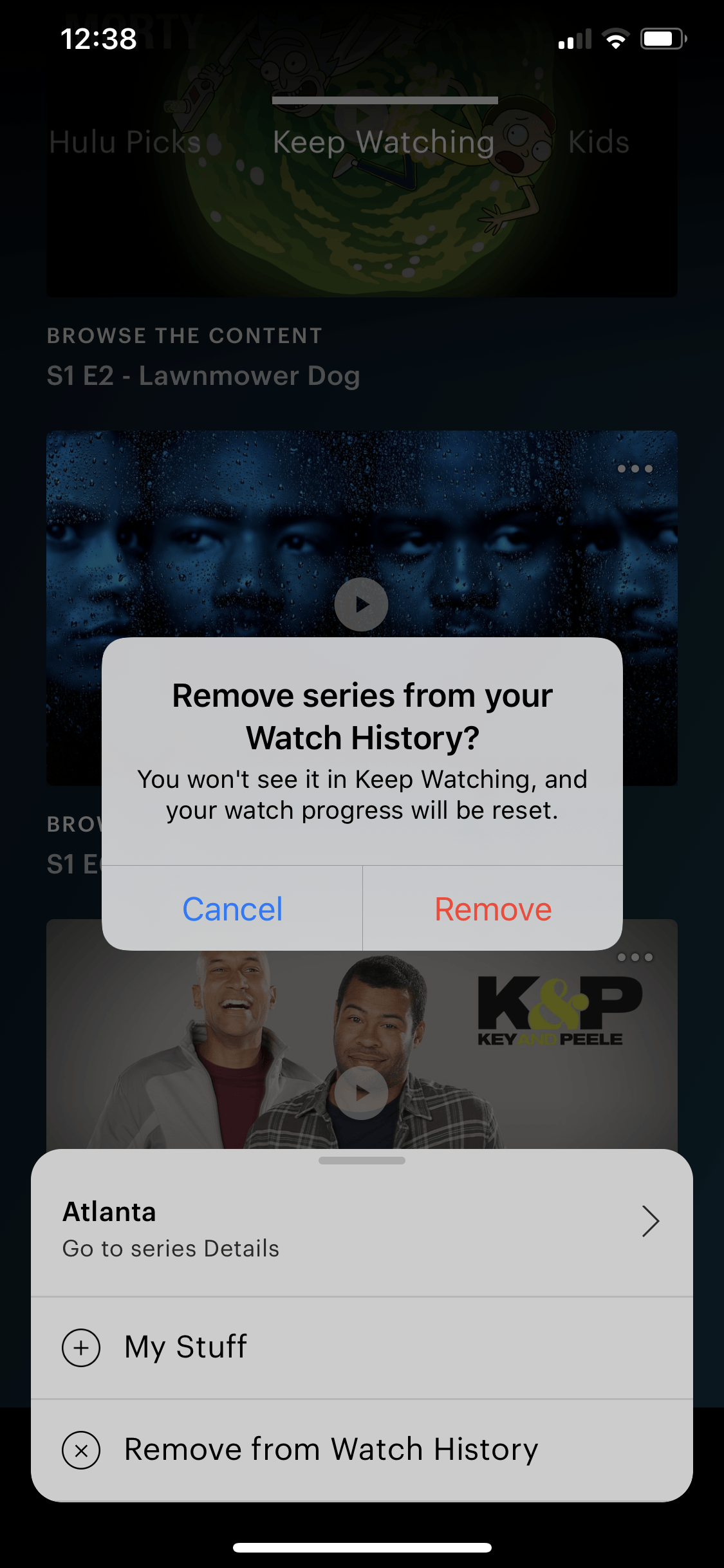 delete viewing history on hulu