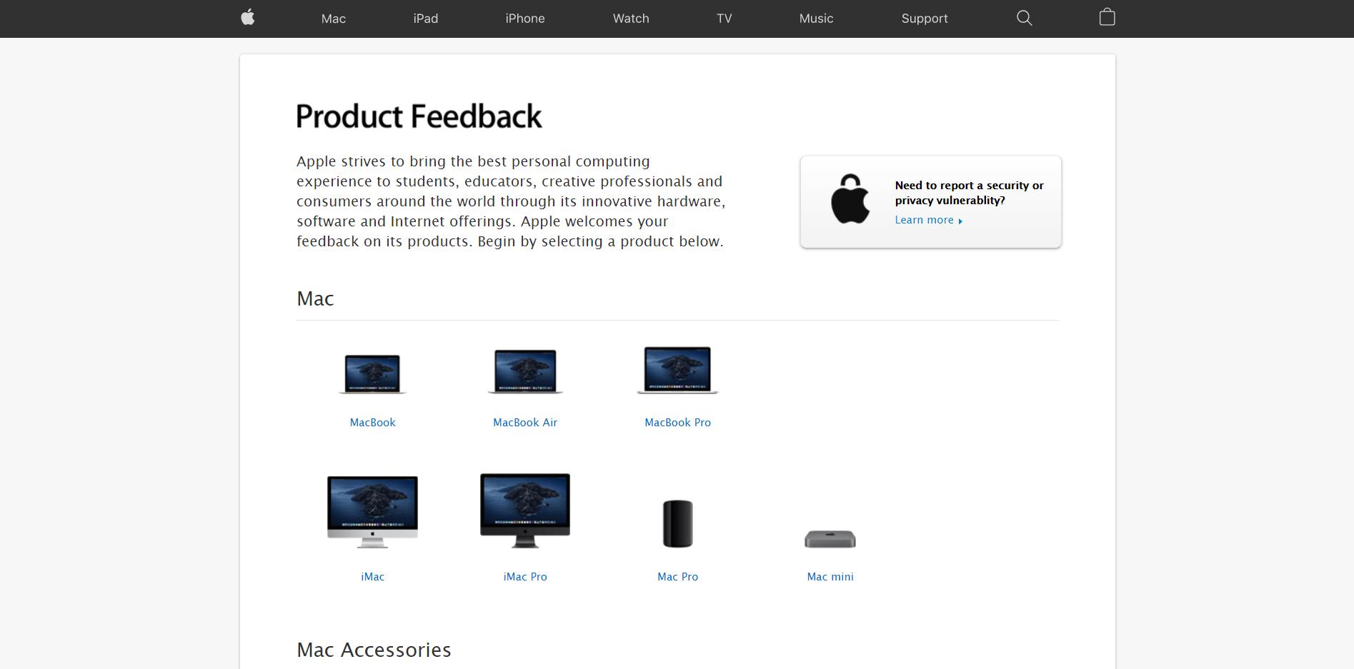 Apple Product Feedback