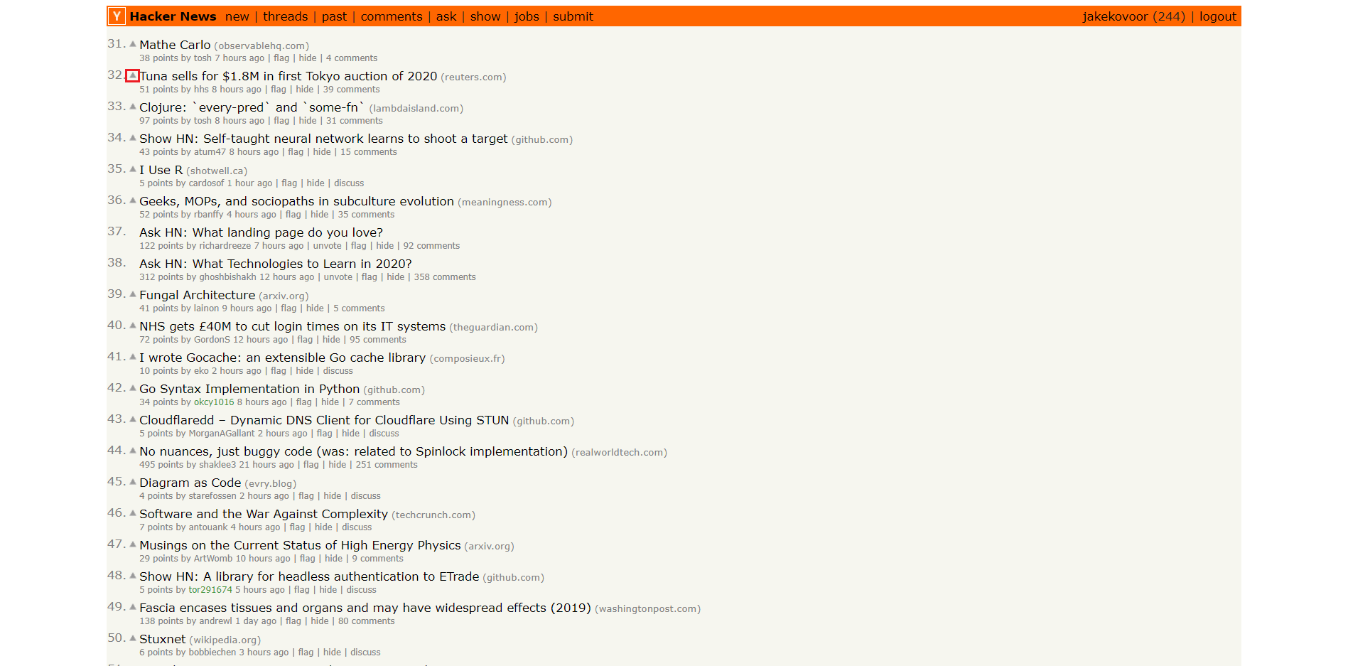 save Hacker News story