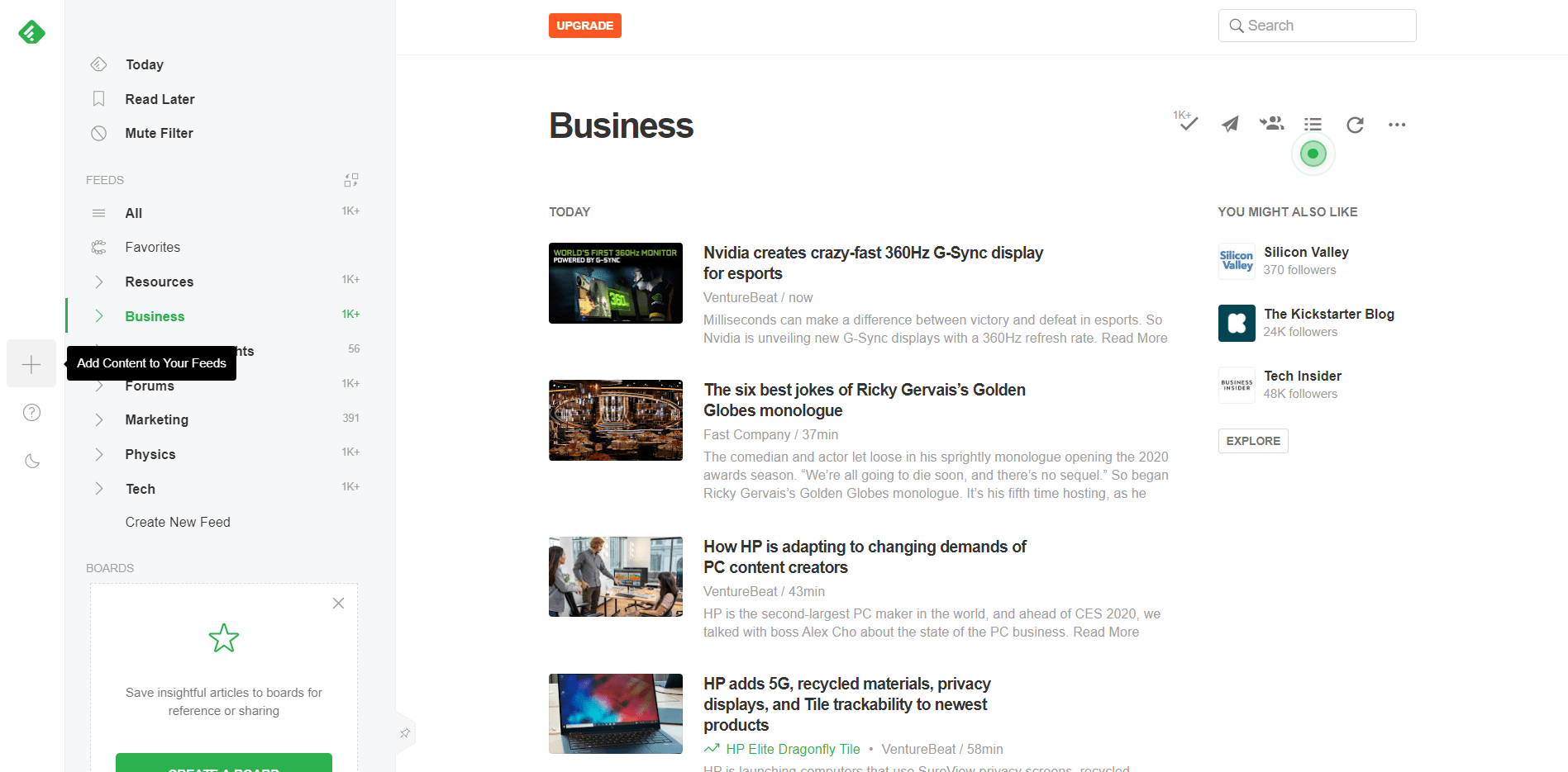 Feedly Add Content
