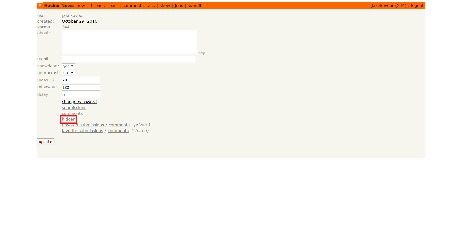 unhide stories on Hacker News