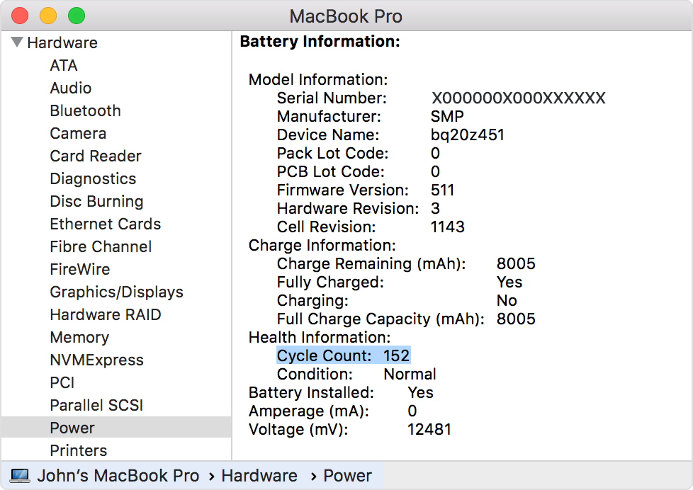 battery not charging macOS catalina