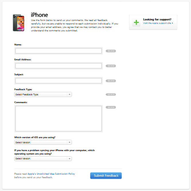iPhone Feedback Form