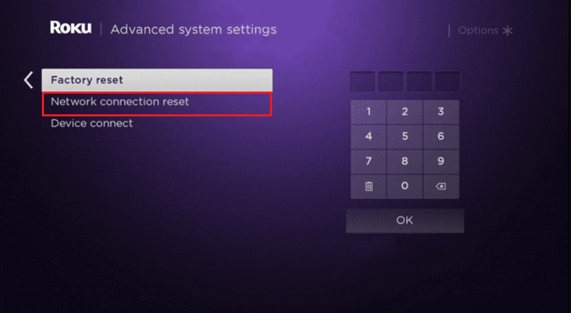 Reset Network connection on Roku