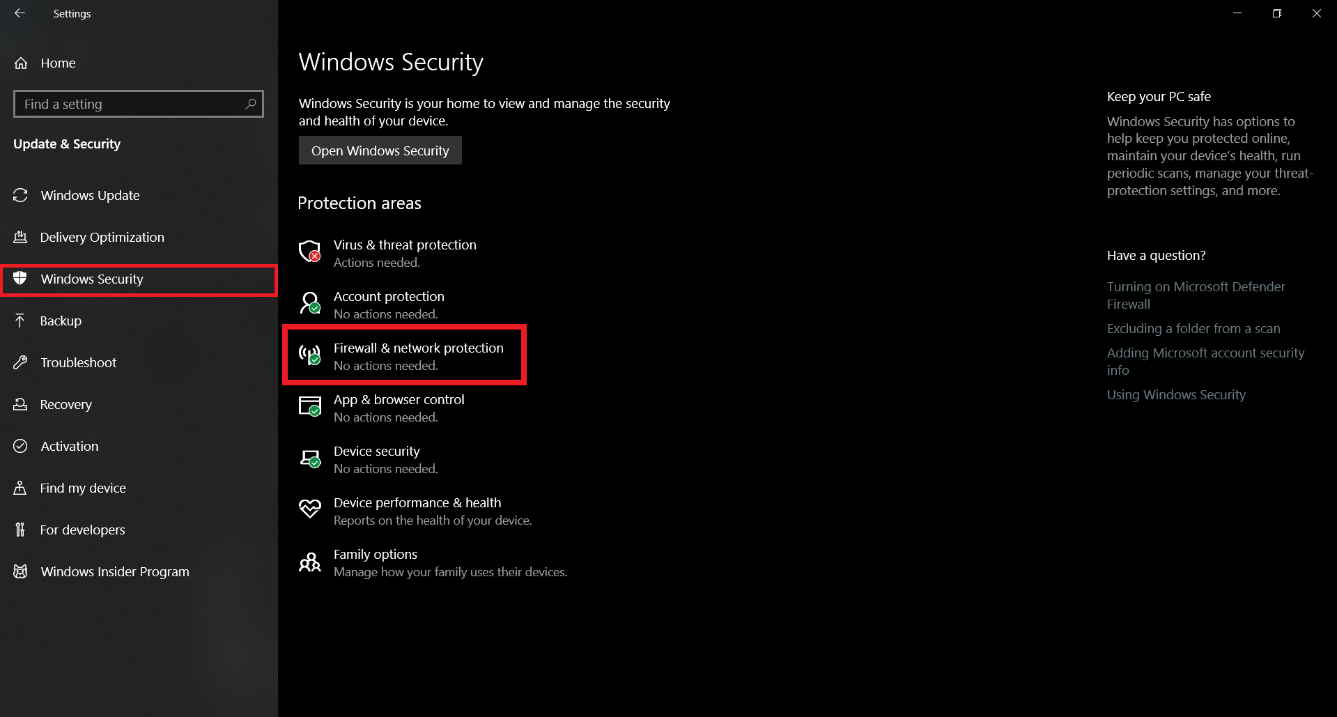 Firewall and Network Protection on Windows 10