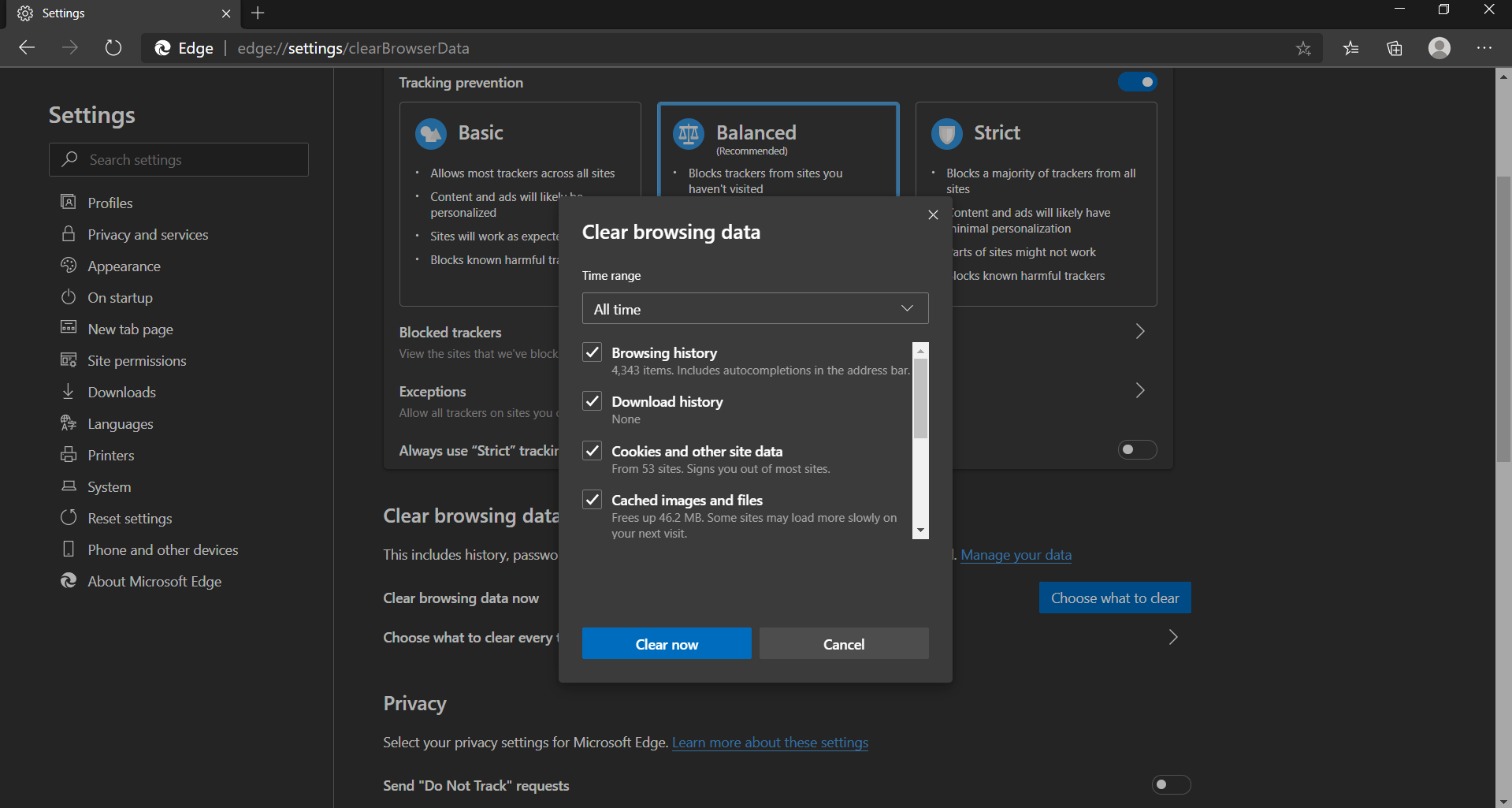 Clear Browsing Data Microsoft Edge