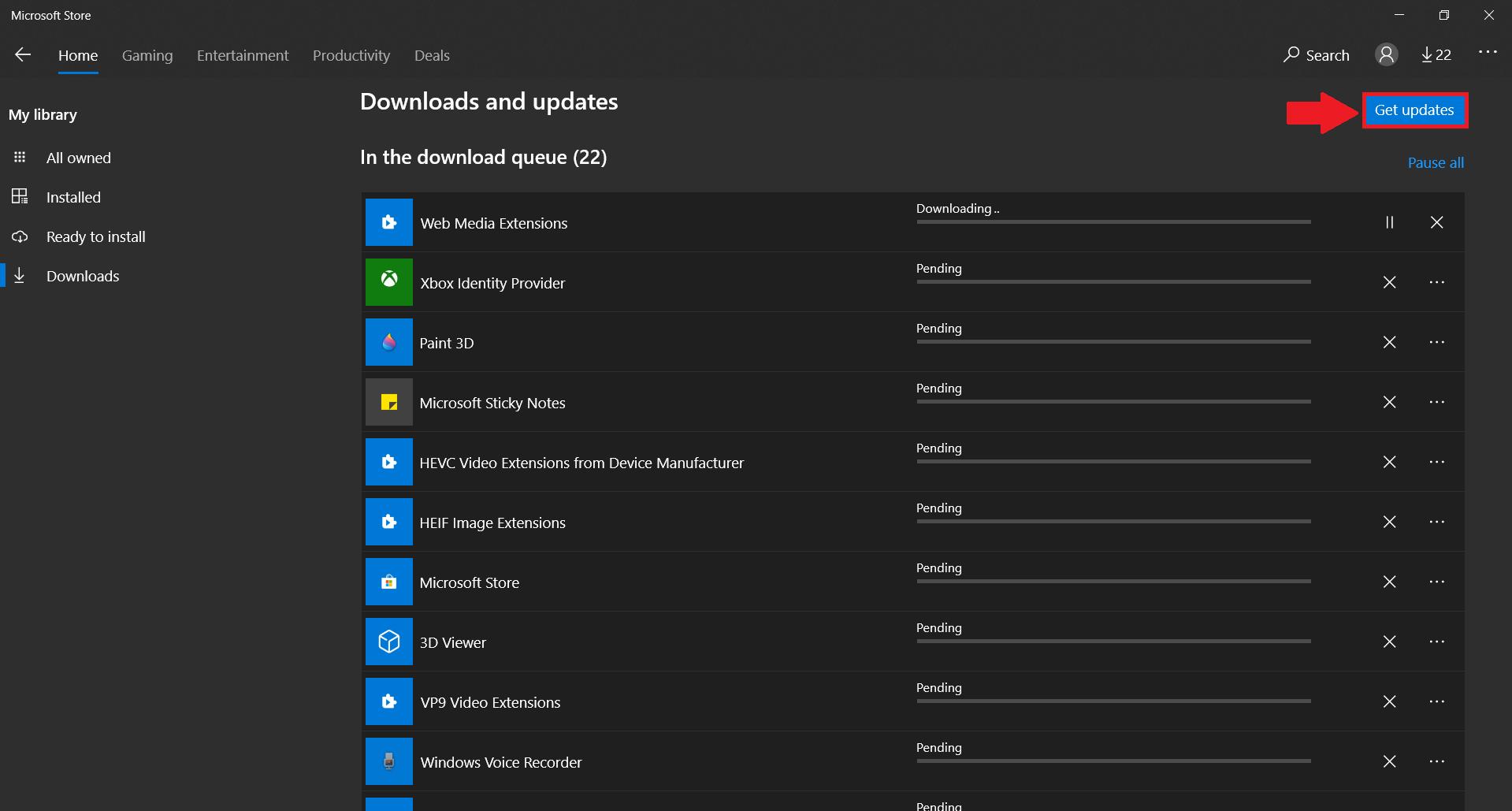 Updating on Microsoft Store