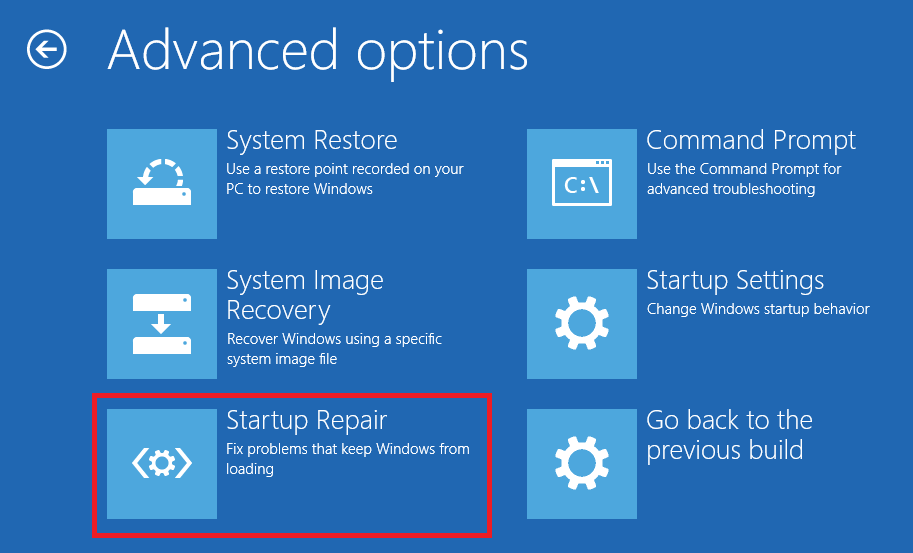 Startup Repair on Windows 10
