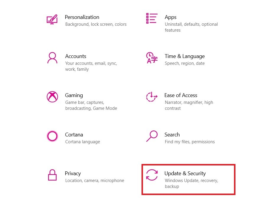 Update and Security on Windows 10
