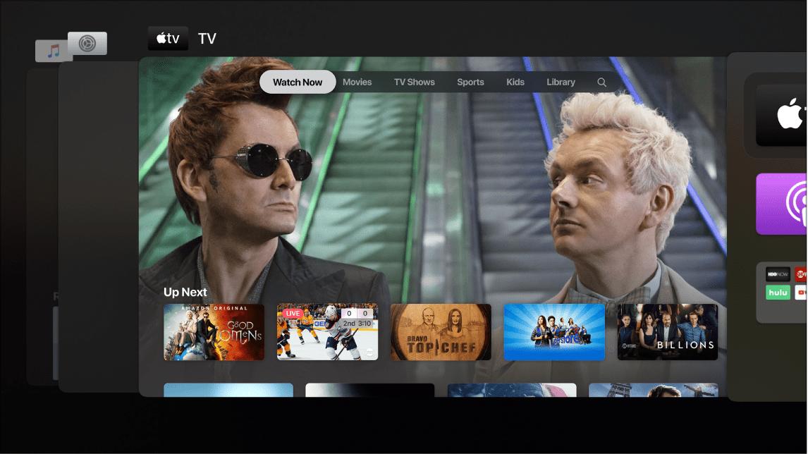 Apple TV Multitasking App Drawer