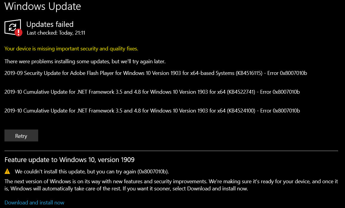 windows update error code 0x8007010b