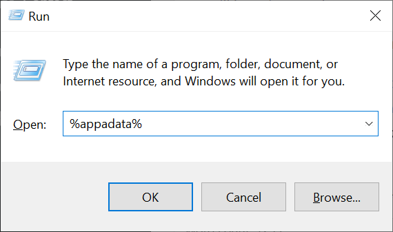 run dialog appdata