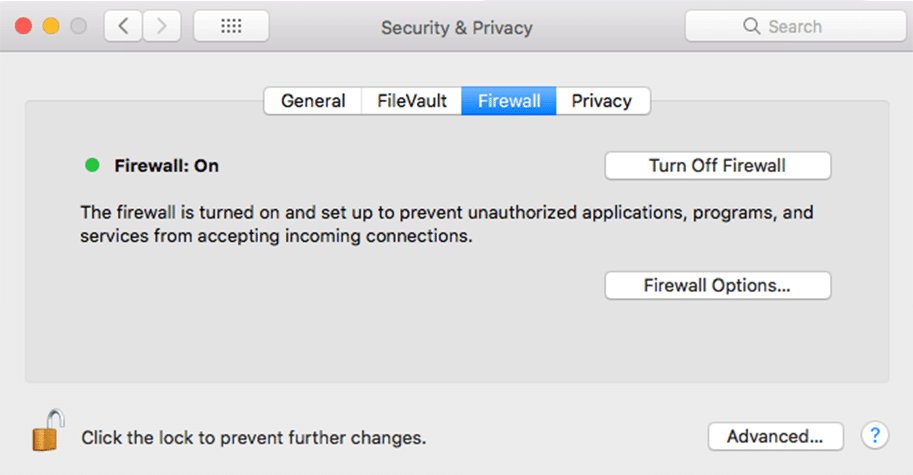 security & privacy firewall mac