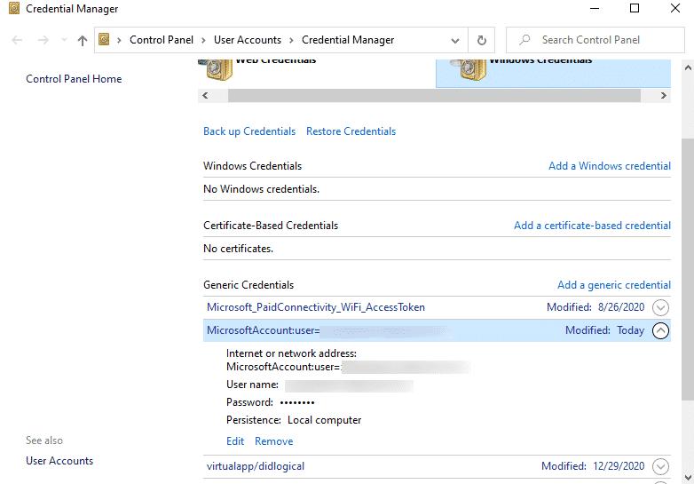 Remove Microsoft Account Credentials Windows